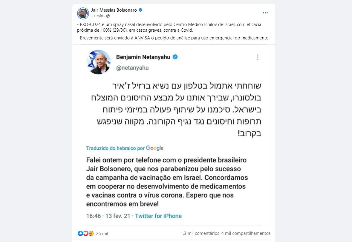 Bolsonaro compartilhou mensagem de Netanyahu sobre cooperação médica contra a Co