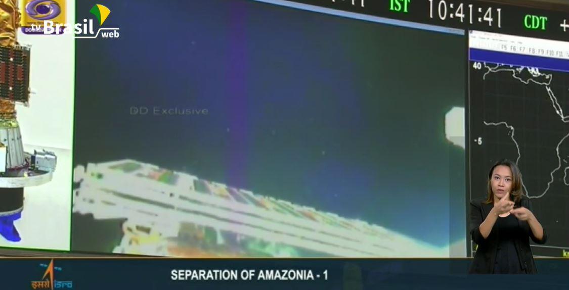 Momento de separação do Amazonia-1 do foguete indiano PSLV-C51