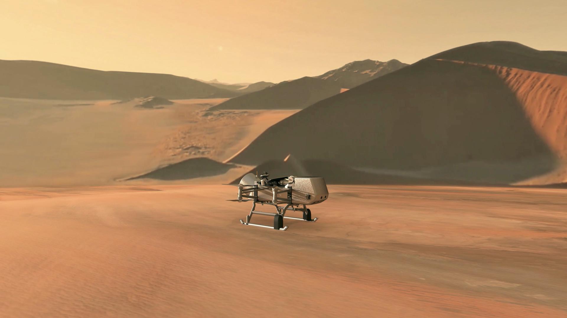 Ilustração do helicóptero Dragonfly, da Nasa, em Titã, lua de Saturno