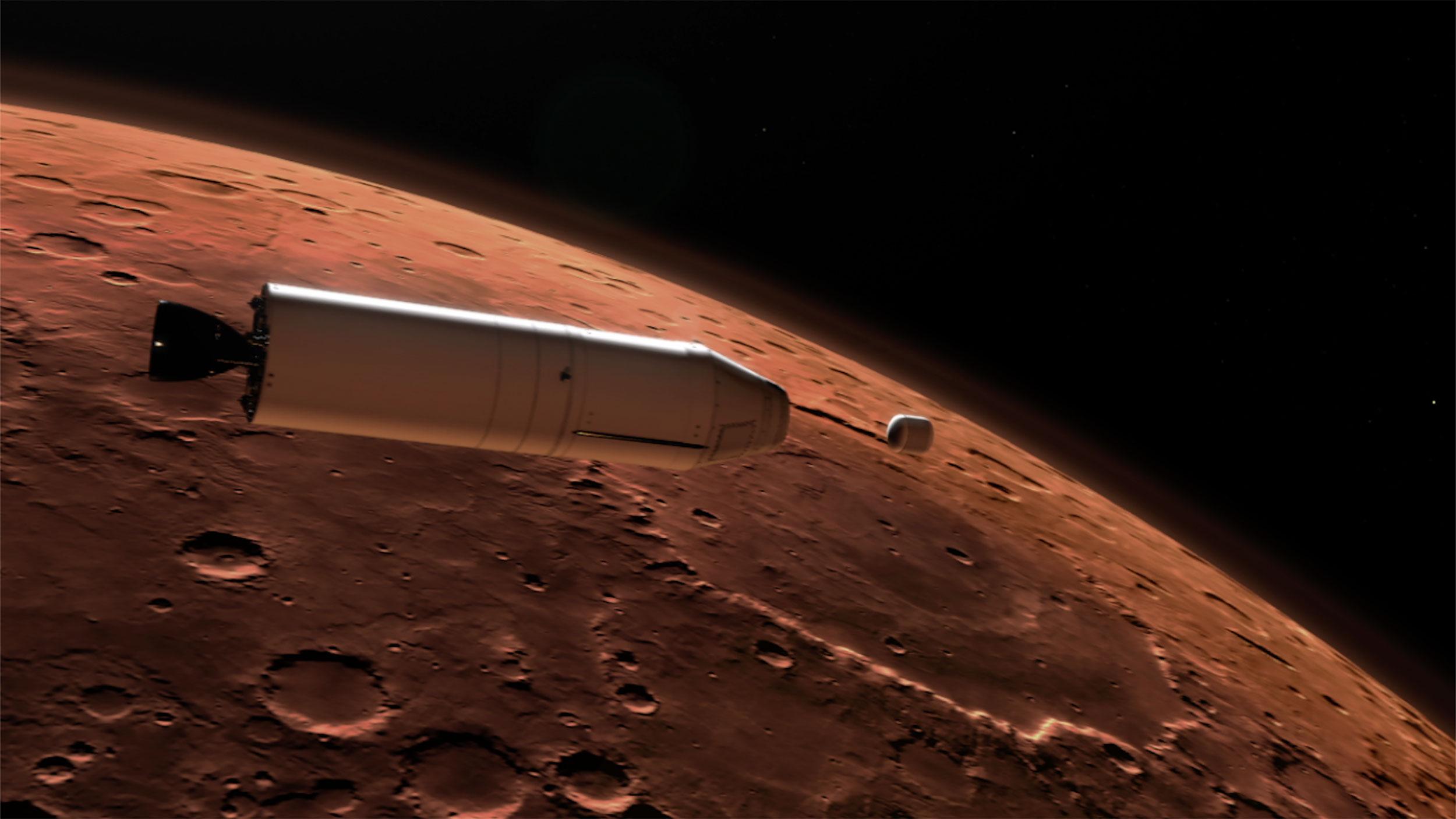 Ilustração de amostras coletadas pelo Perseverance deixando Marte