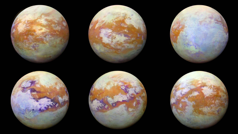 Os vários lados da lua Titã, de Saturno, e a atmosfera espessa