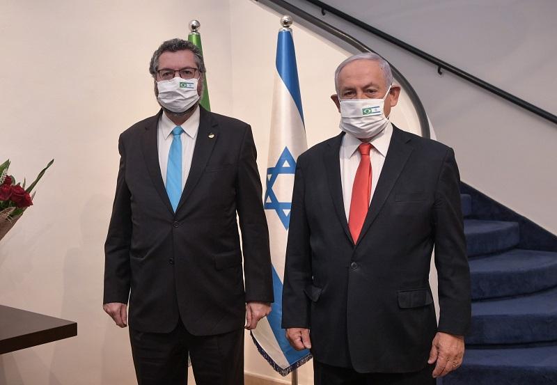 O ministro das Relações Exteriores, Ernesto Araújo, e Benjamin Netanyahu