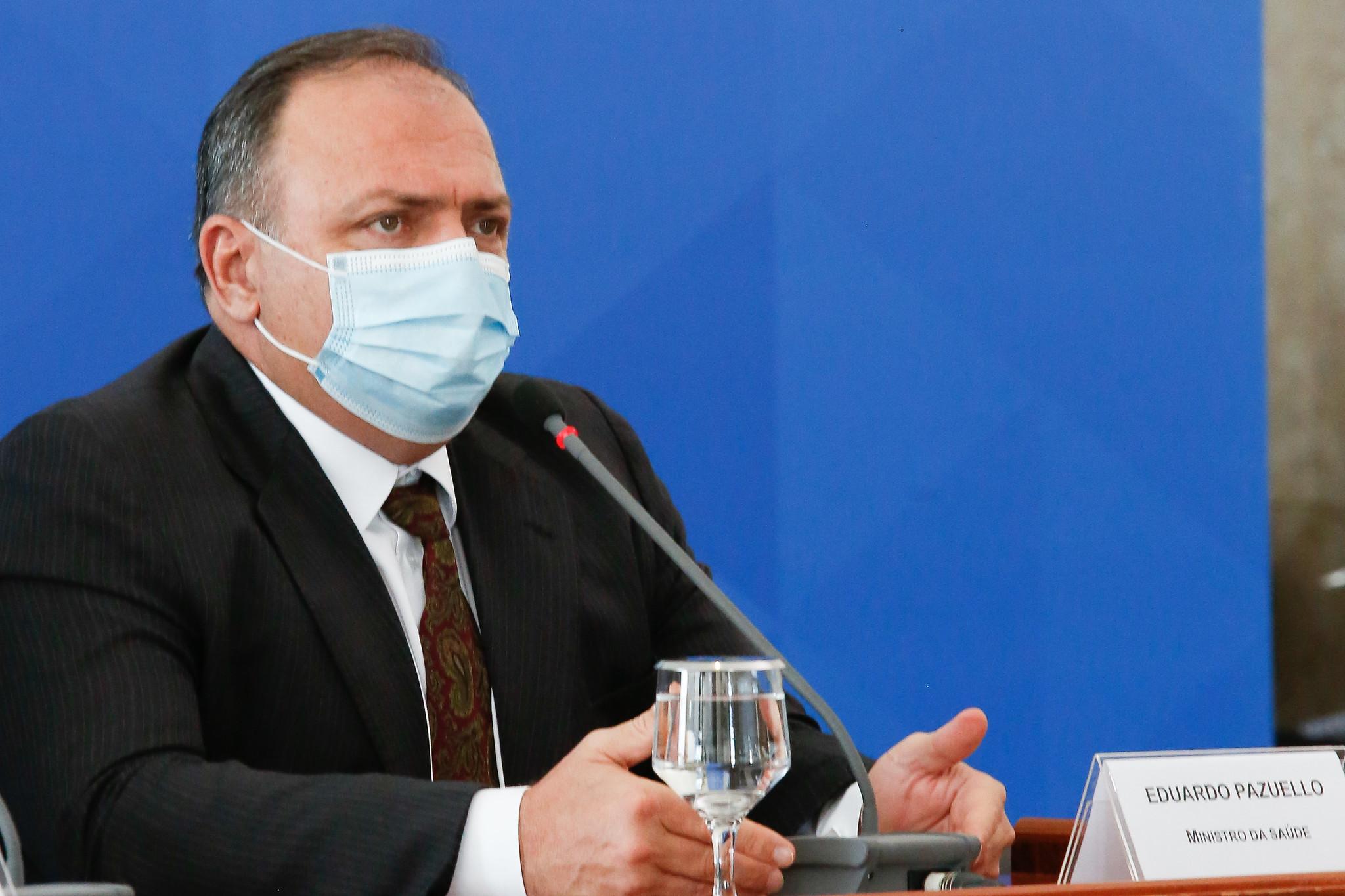 O ministro da Saúde Eduardo Pazuello durante entrevista coletiva