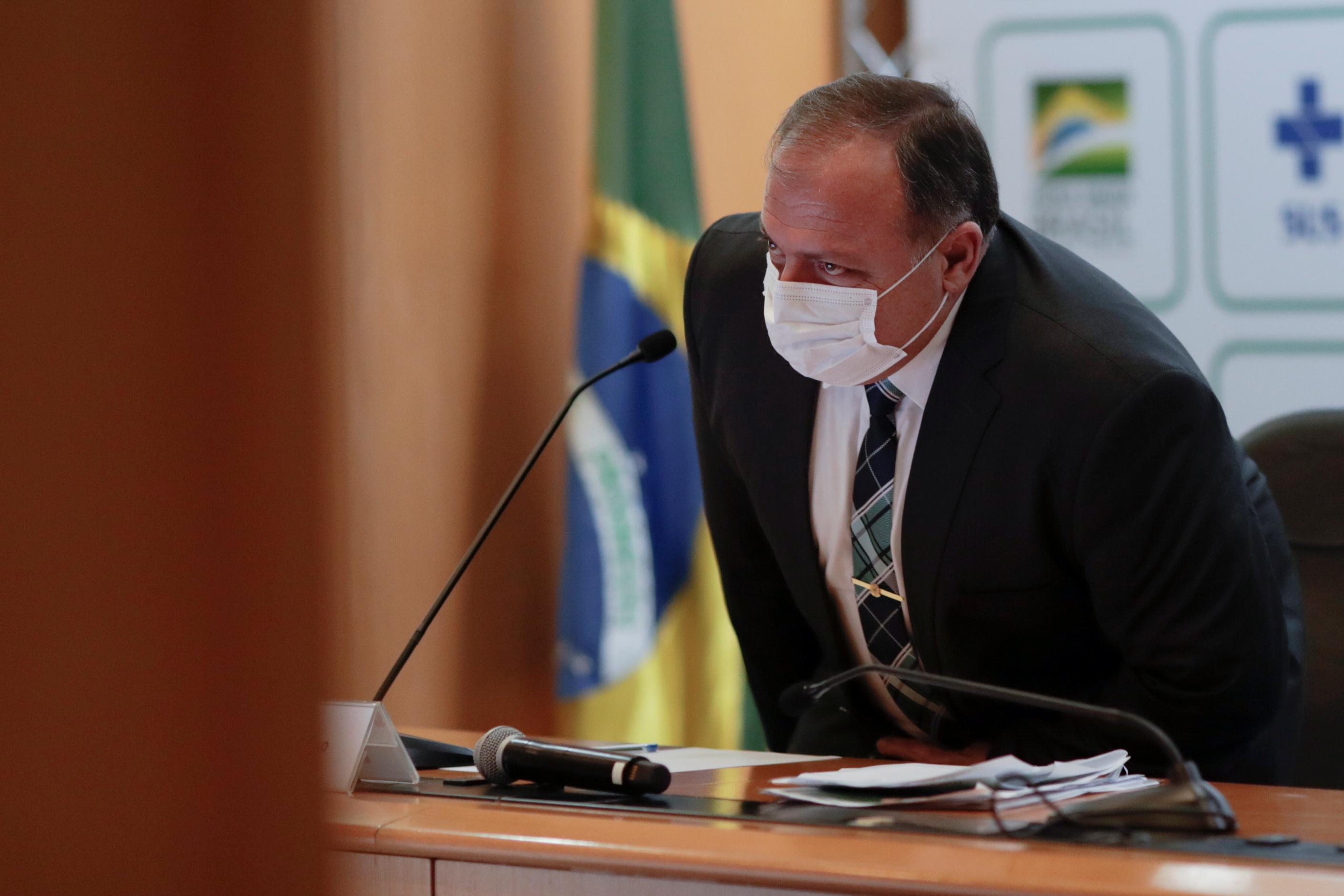 Ministro da Saúde, Eduardo Pazuello, concede entrevista coletiva em Brasília