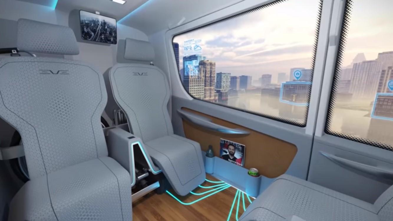 Conceito do interior do 'carro voador' da Embraer