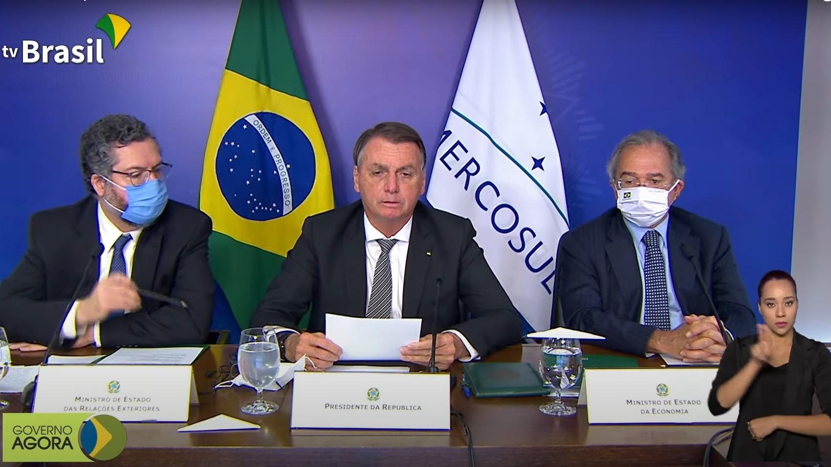 Bolsonaro discursa na cúpula virtual dos 30 anos do Mercosul