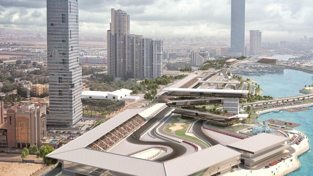 Projeção da pista de Jeddah, na Arábia Saudita, que sediará Grande Prêmio de F1