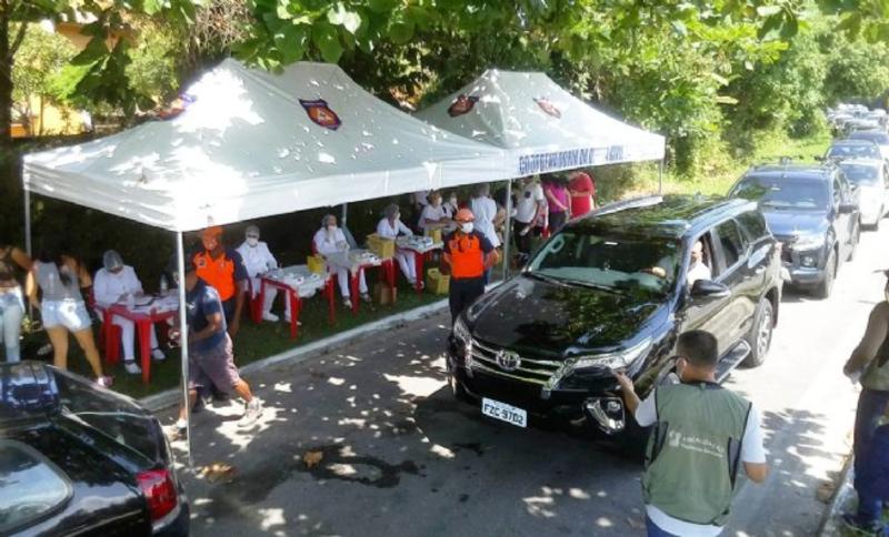 Barreira sanitária contra Covid-19 realizada pela prefeitura de São Sebastião
