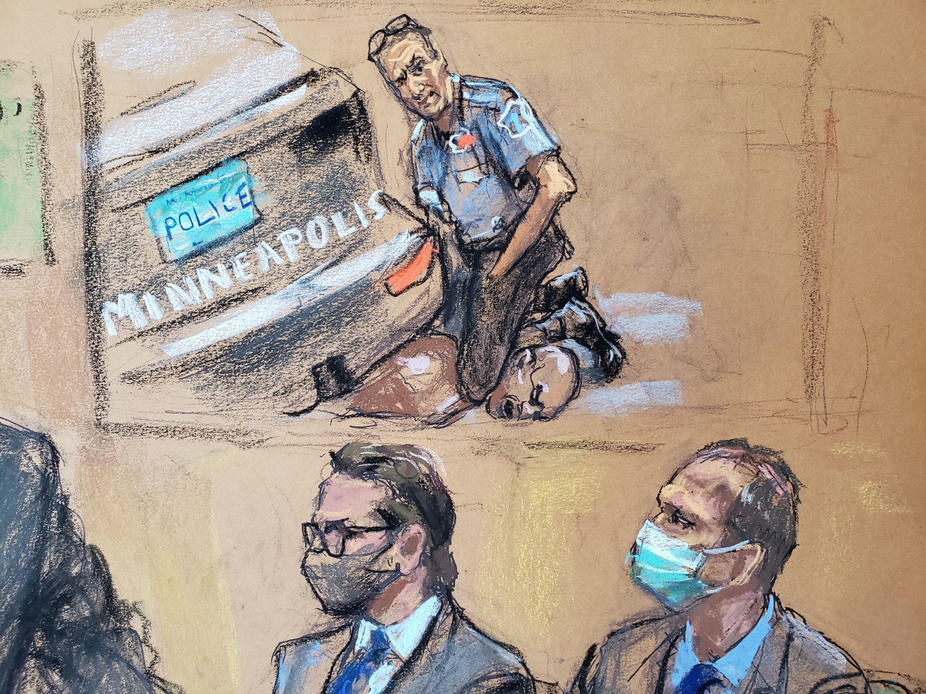Ilustração do julgamento do ex-policial Derek Chauvin