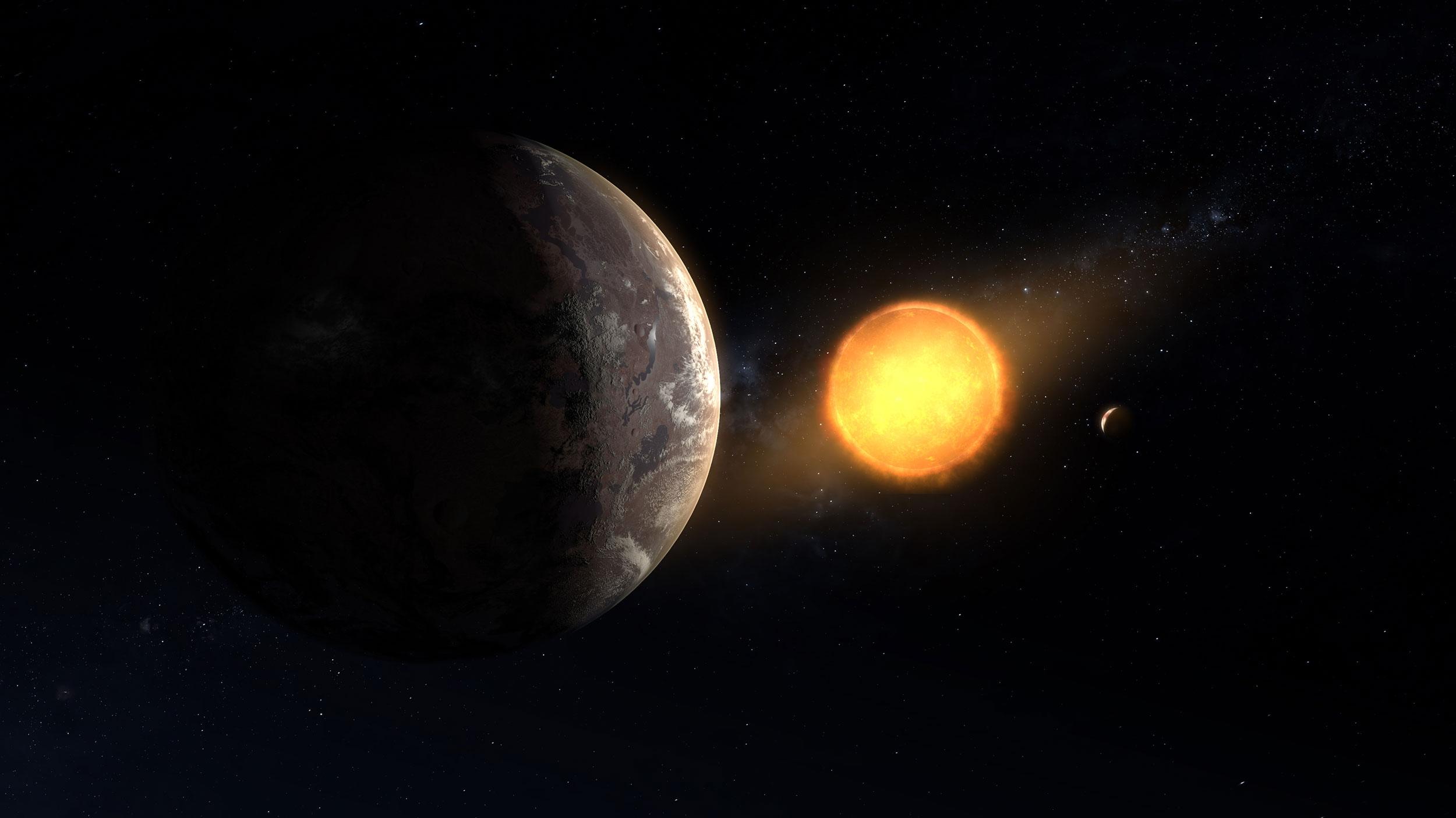 Concepção artística do planeta Kepler-1649c e sua estrela