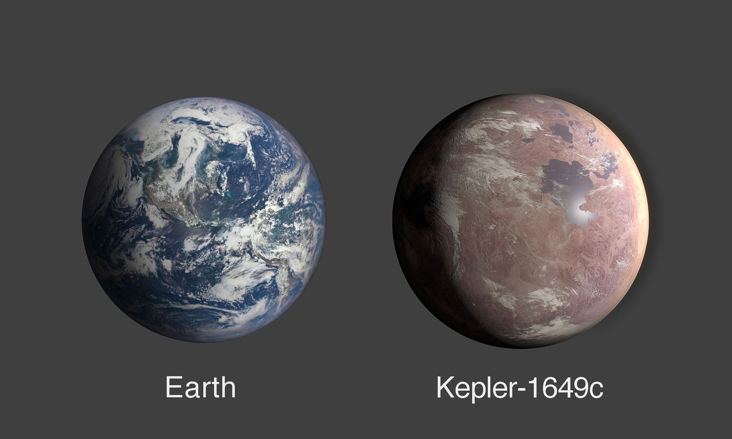 Concepção artística do planeta Kepler-1649c ao lado da Terra