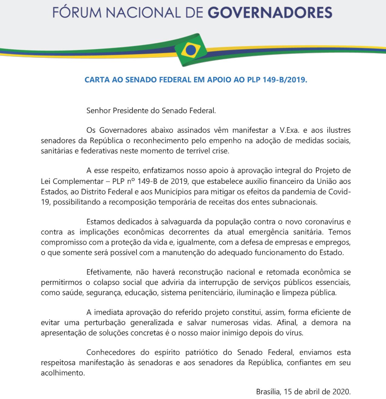 Íntegra de carta enviada ao Senado por 25 governadores em apoio ao PLP 149-B