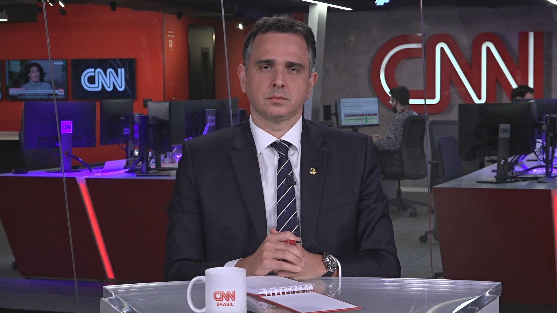 Presidente do Senado, Rodrigo Pacheco em entrevista à CNN (05.abr.2021)