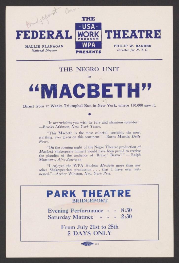 Produção de Macbeth bancada pelo Federal Theater Project