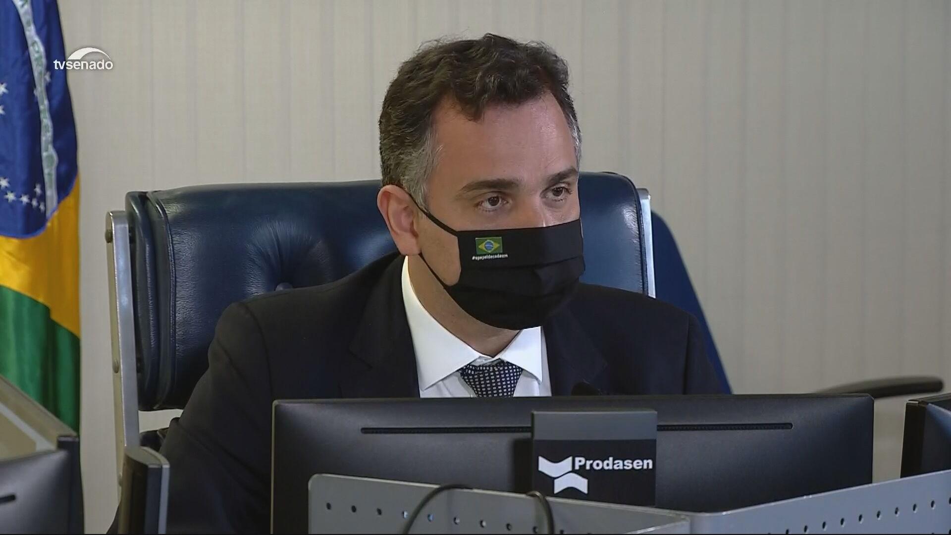 O presidente do Senado, Rodrigo Pacheco (DEM-MG) (13.abr.2021)