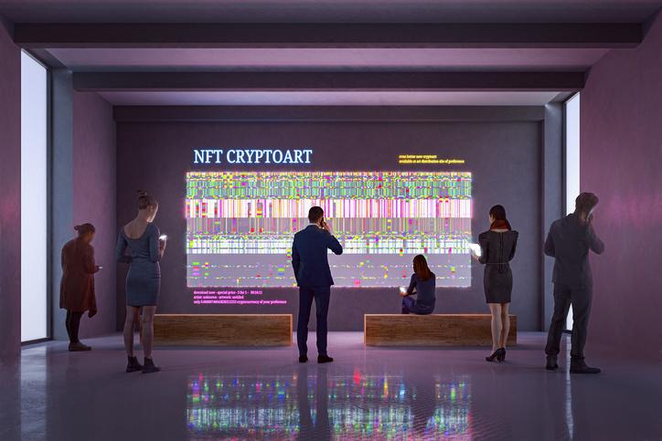 Foto de exibição NFT em galeria de arte. Imagem totalmente gerada em 3D
