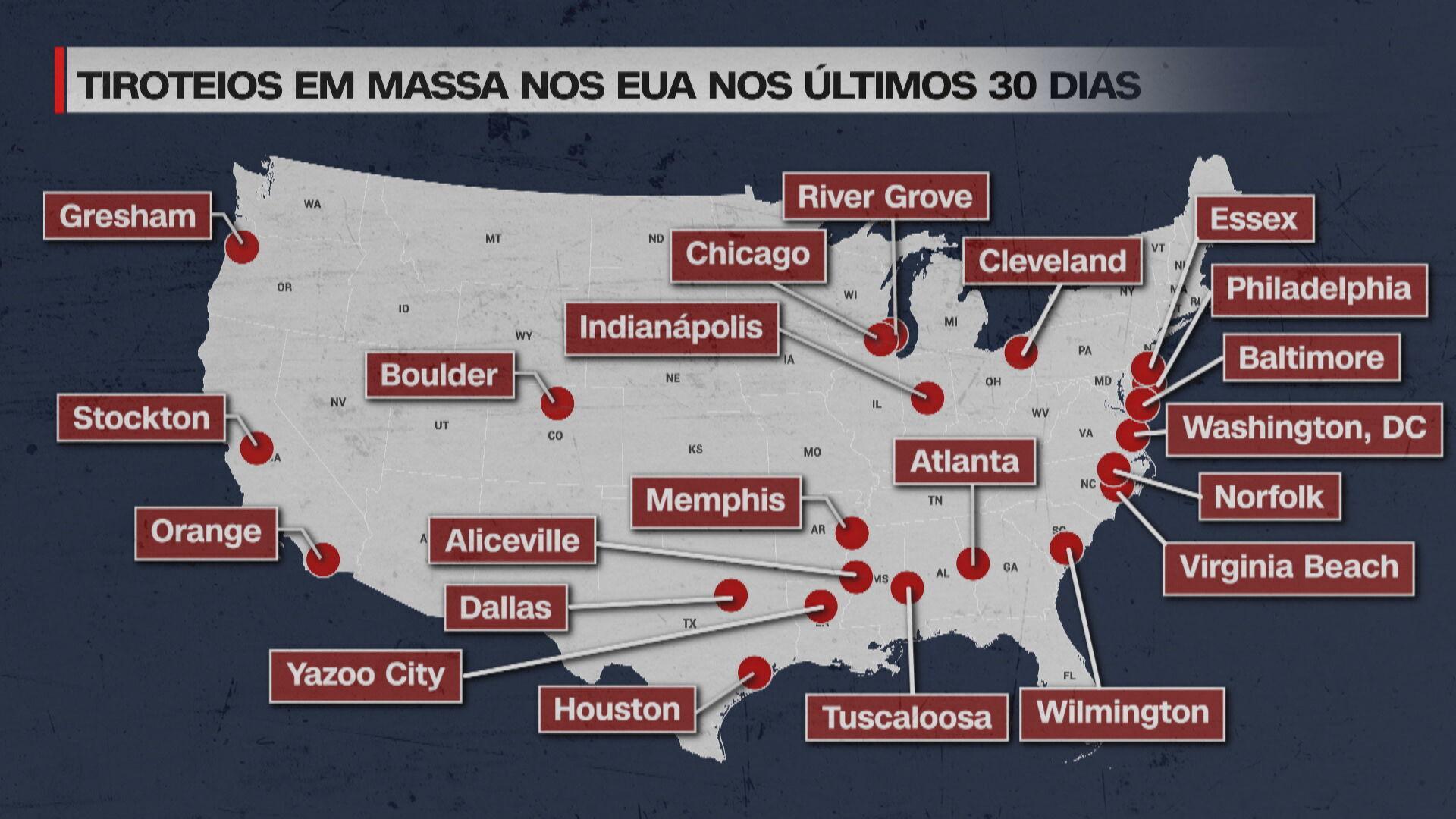 Mapa com o tiroteios em massa nos EUA nos últimos 30 dias