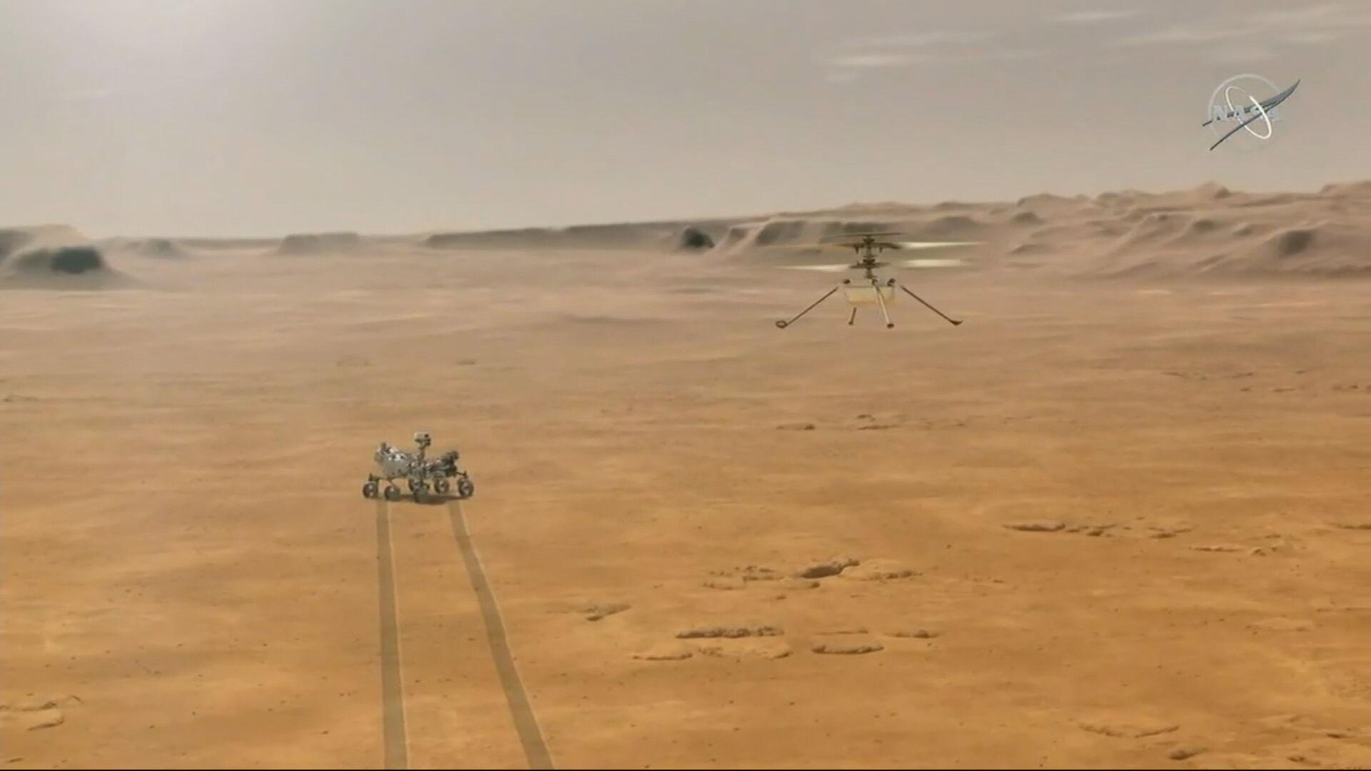Helicóptero Ingenuity, da Nasa, fez primeiro voo sobre Marte nesta segunda-feira