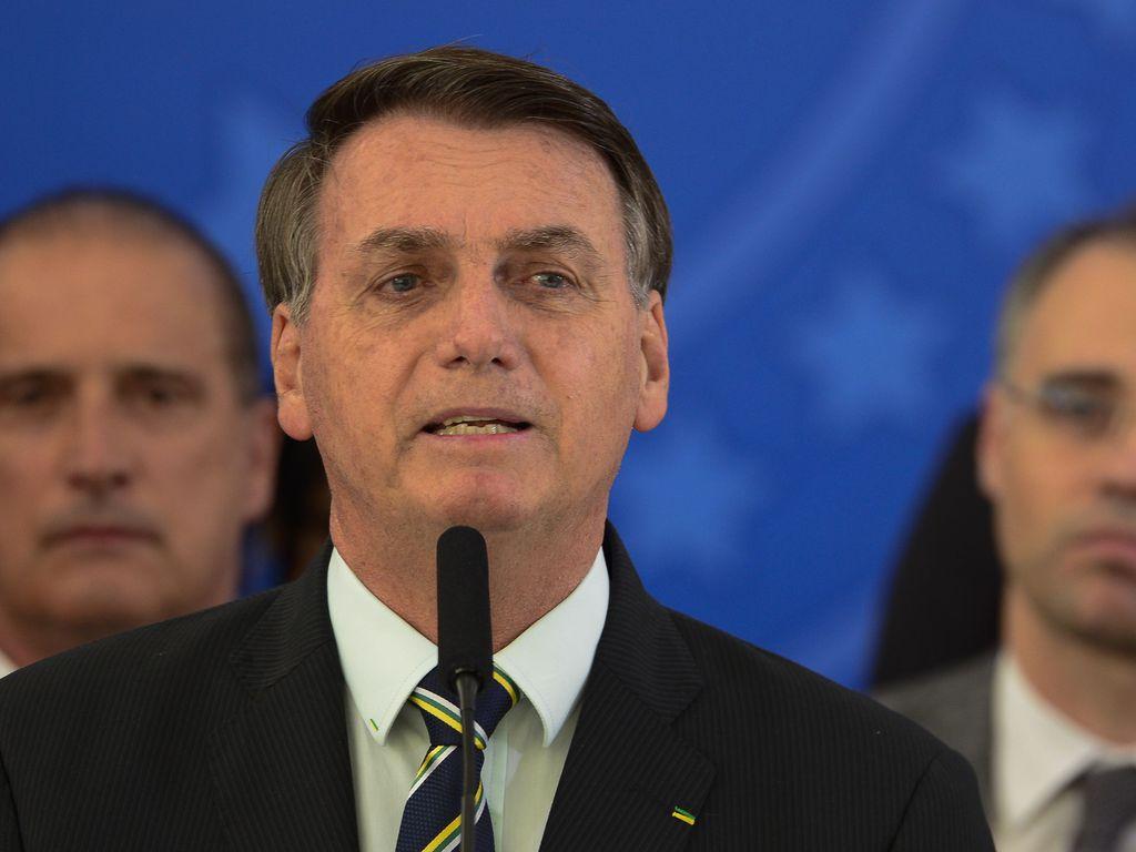 O presidente Jair Bolsonaro em pronunciamento em Brasília