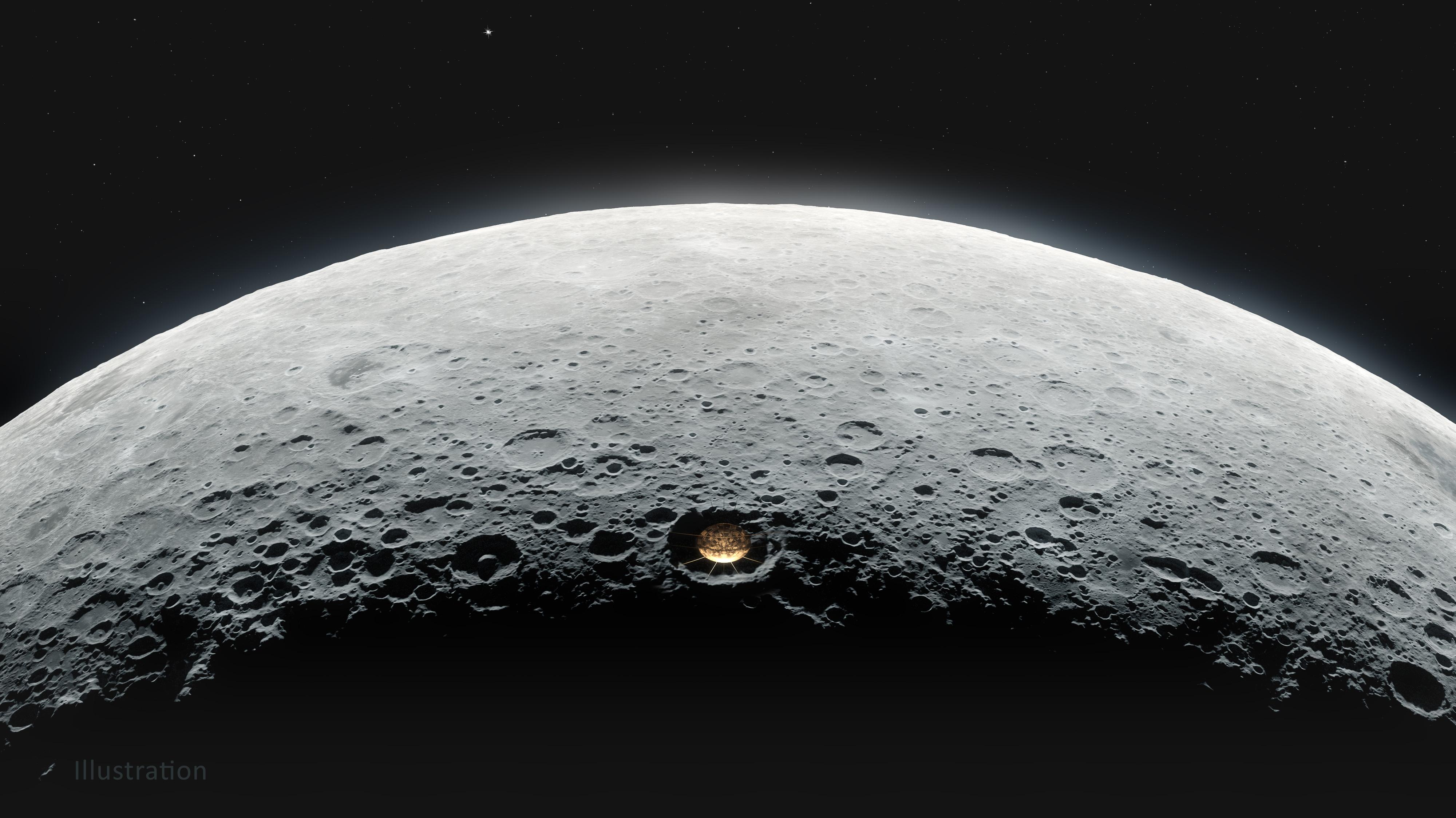 Visualização de como seria um radiotelescópio em cratera no lado oculto da lua