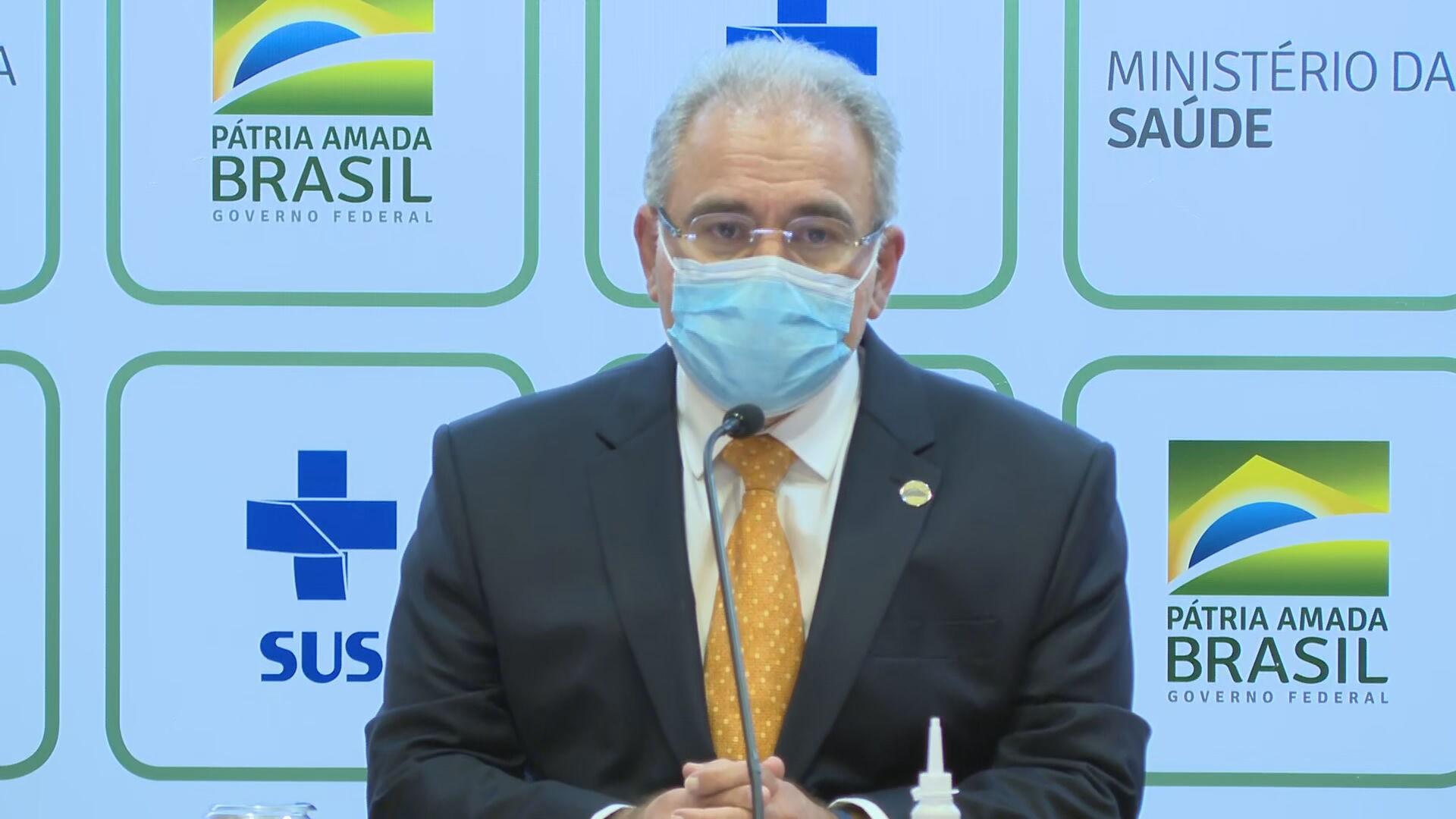 O ministro da Saúde, Marcelo Queiroga, em coletiva de imprensa