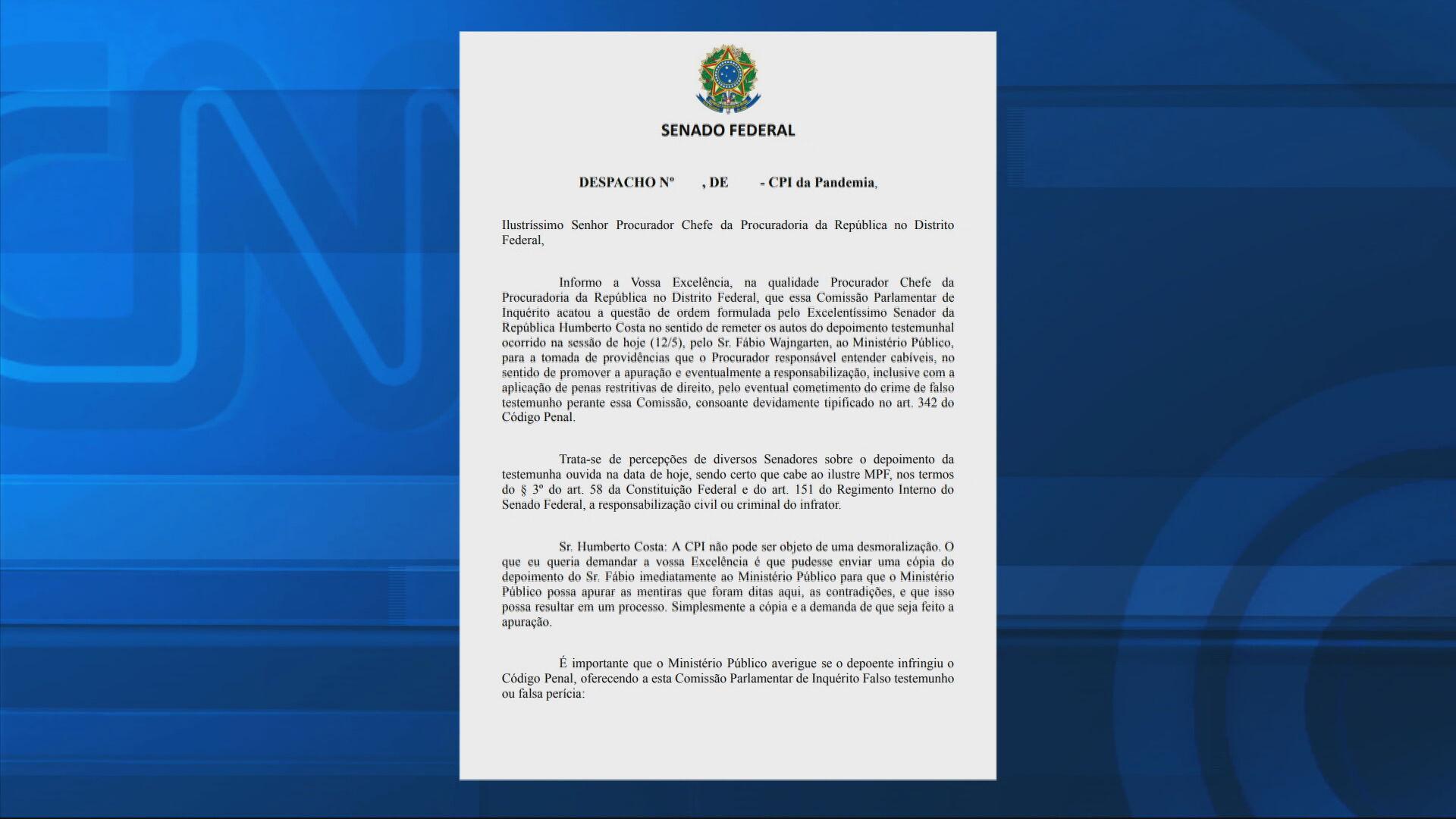 Senado pede que Procuradoria apure falas de Wajngarten na CPI da Covid