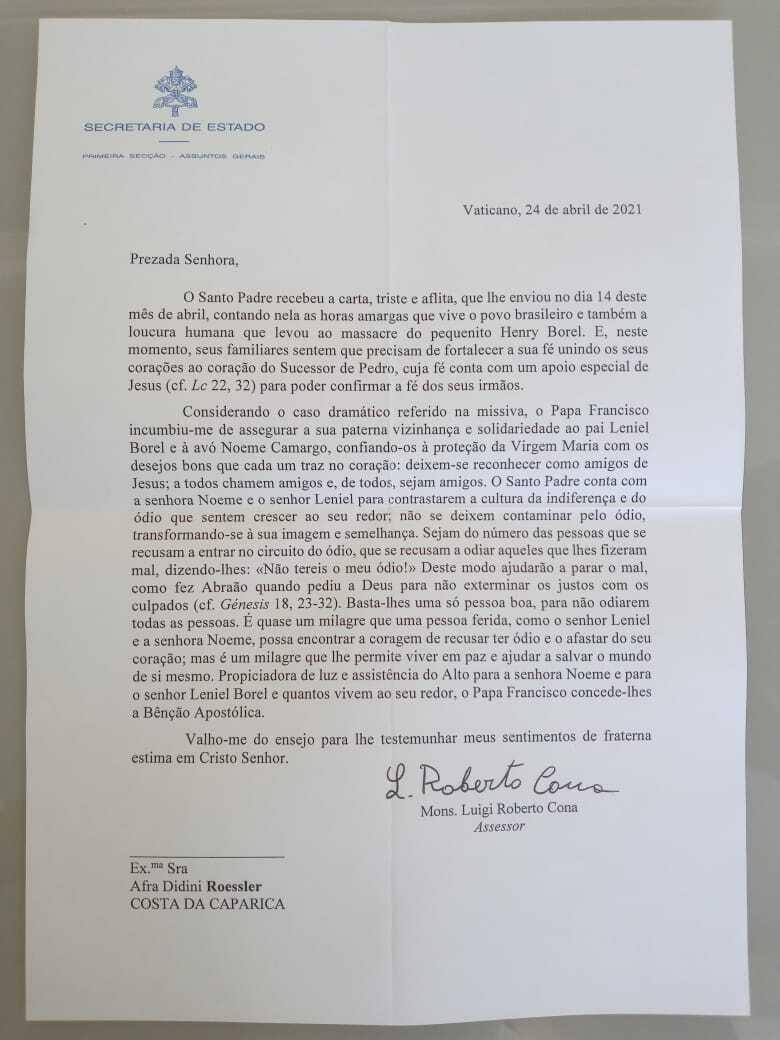 Papa Francisco manifesta solidariedade em carta ao pai de menino Henry