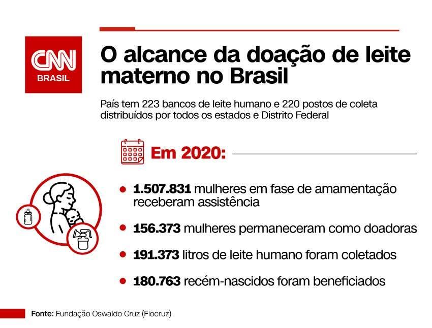 Infográfico de estatísticas da doação de leite no Brasil em 2020
