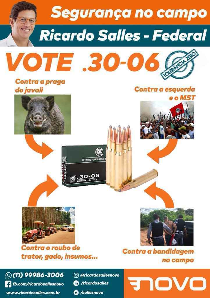 Panfleto de campanha de Ricardo Salles a deputado federal em 2018