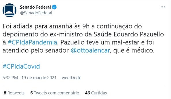 Pazuello passou mal, confirma Senado