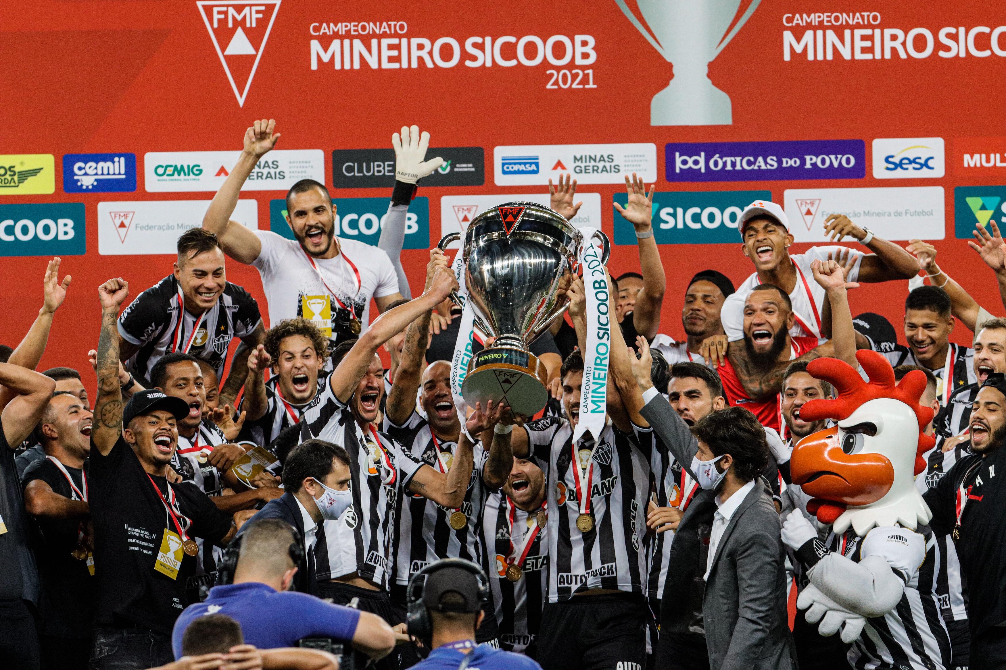 Jogadores do Atlético-MG comemoram o título do Campeonato Mineiro 2021