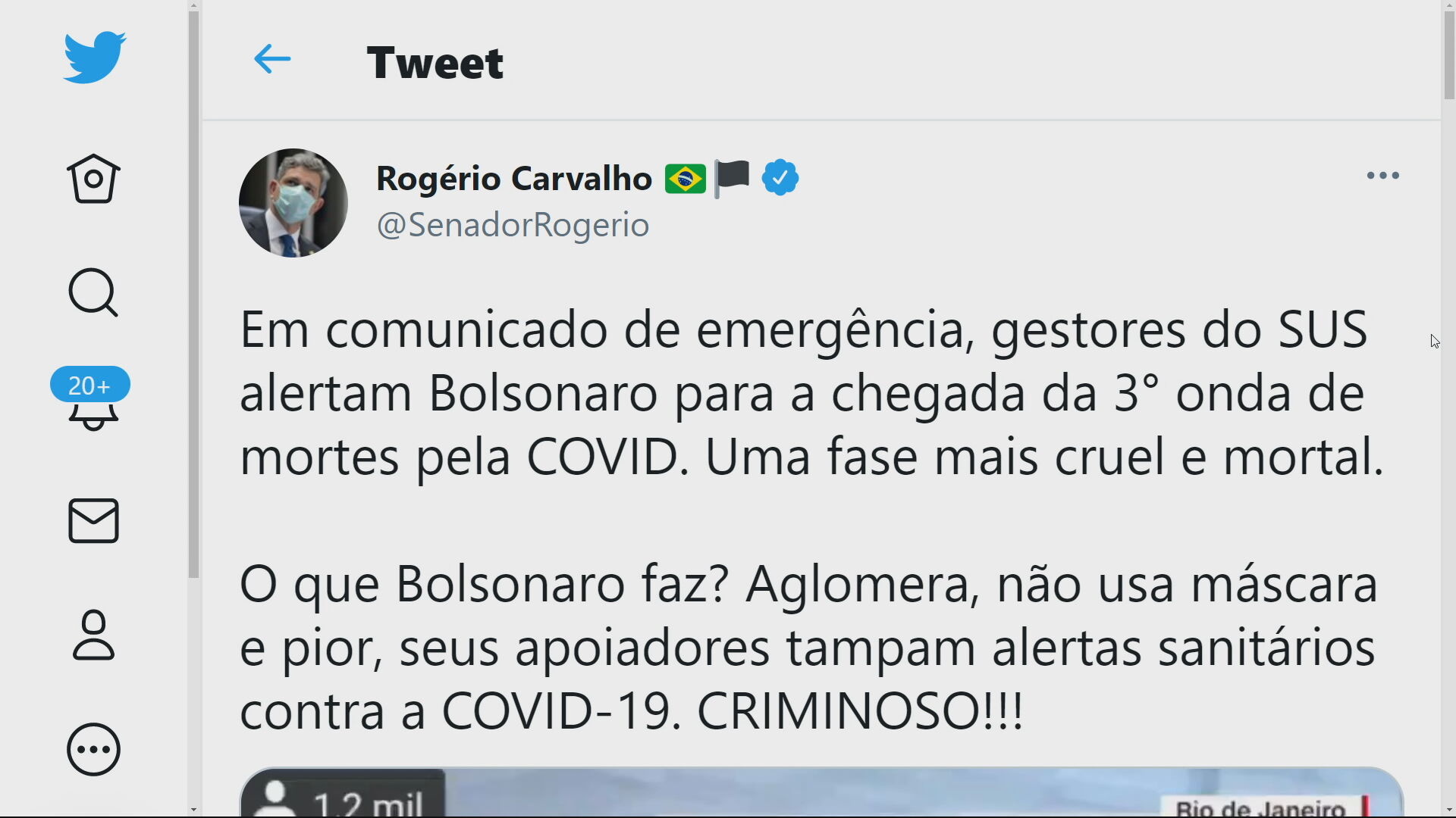 Tweet Senador Rogério Carvalho (PT-SE)