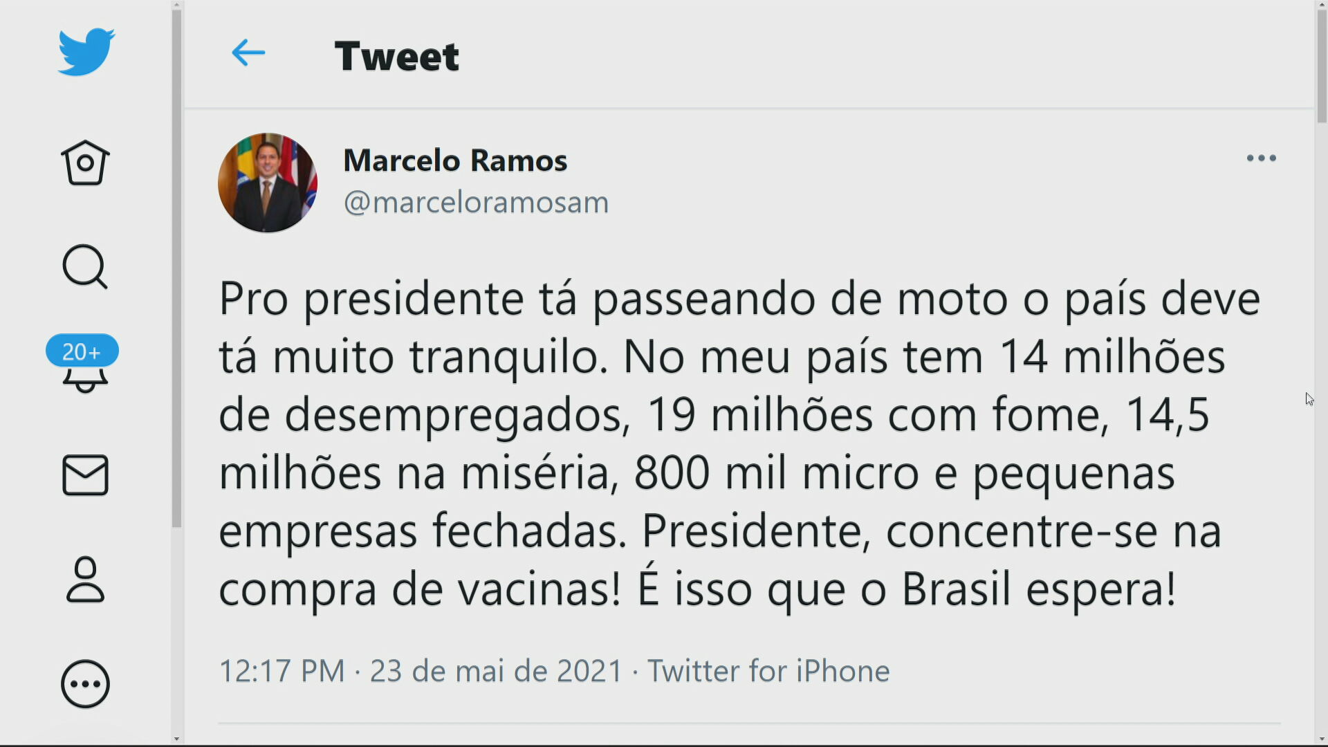 Tweet Deputado Federal Marcelo Ramos (PL-AM)