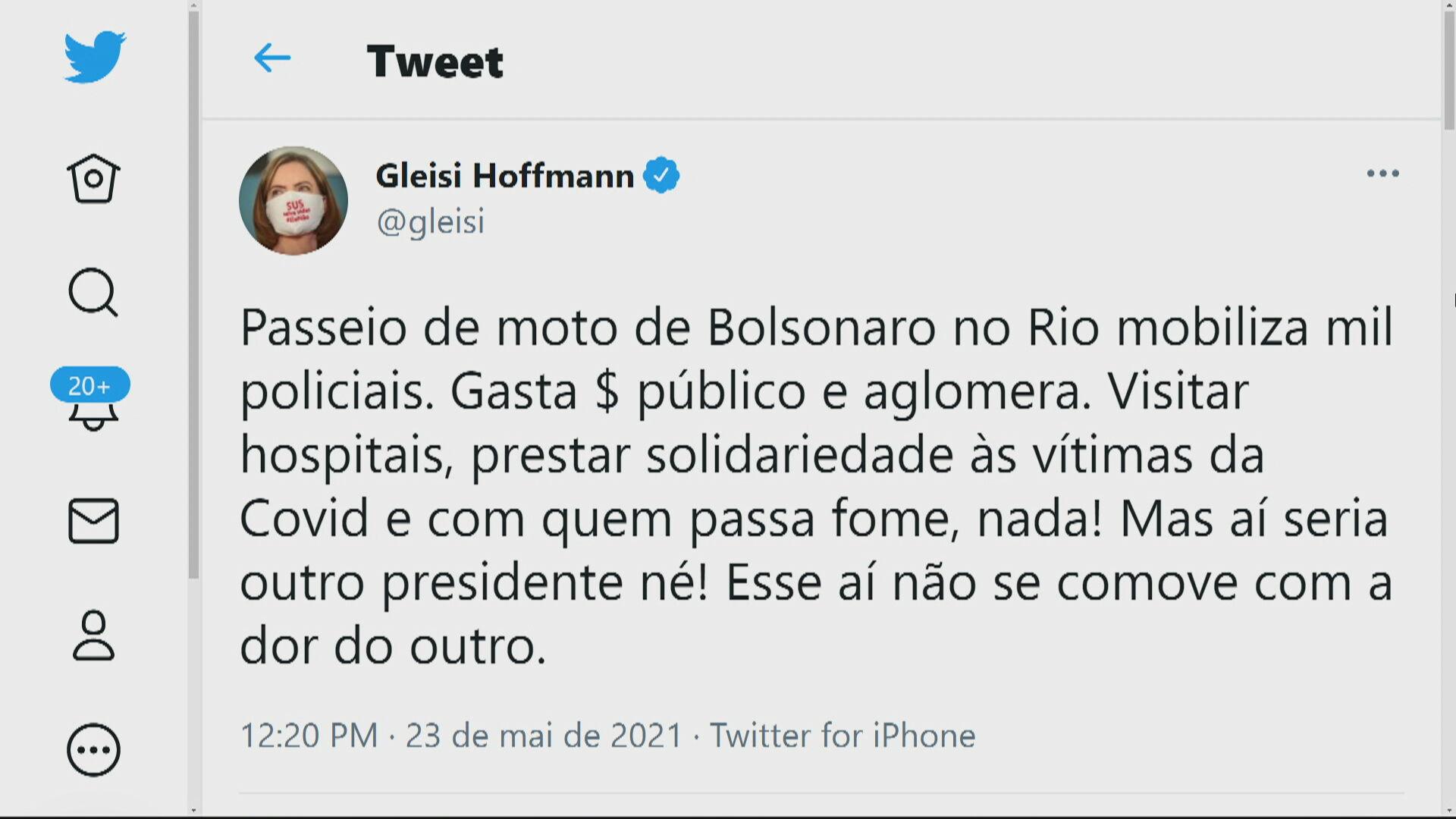 Tweet Deputada Federal Gleisi Hoffmann (PT-PR)