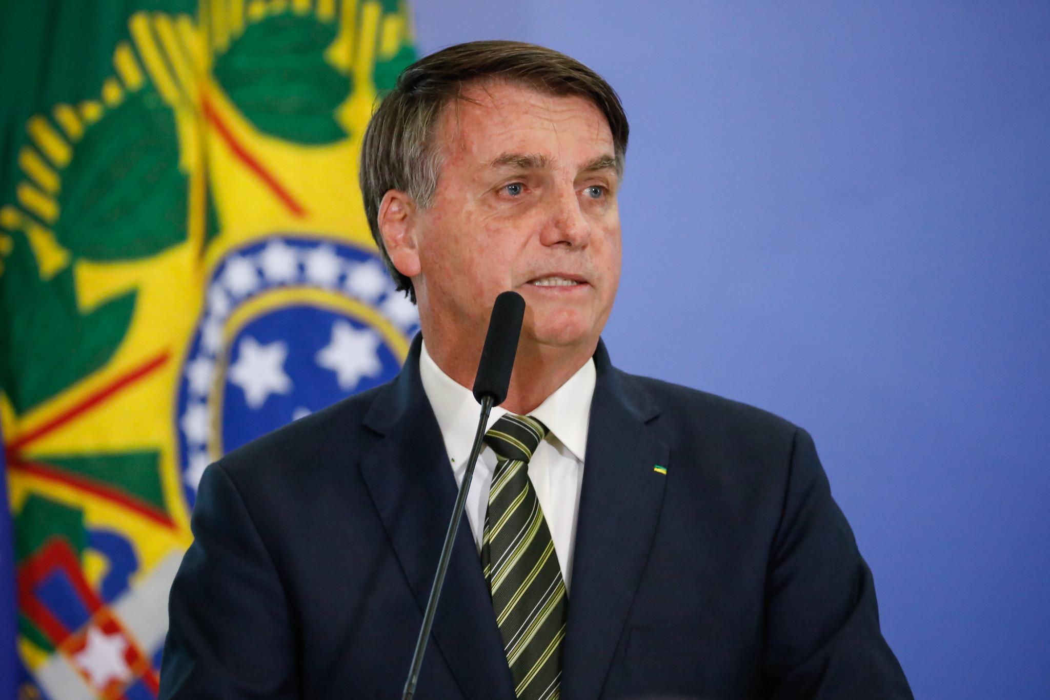 O presidente Jair Bolsonaro durante posse dos novos ministros