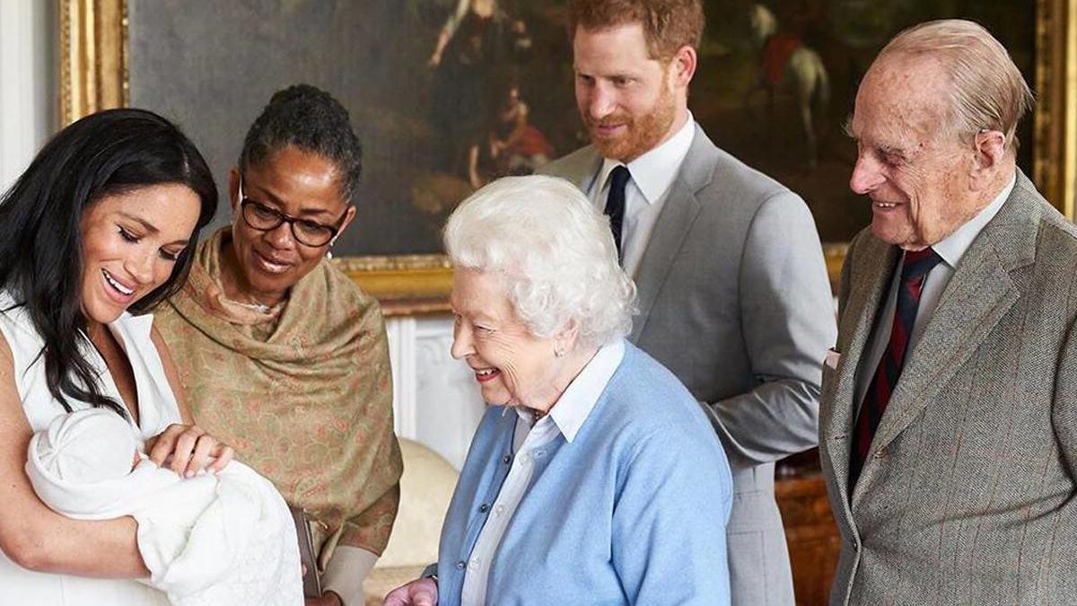 Meghan Markle, Príncipe Harry, Rainha Elizabeth II e Príncipe Philip