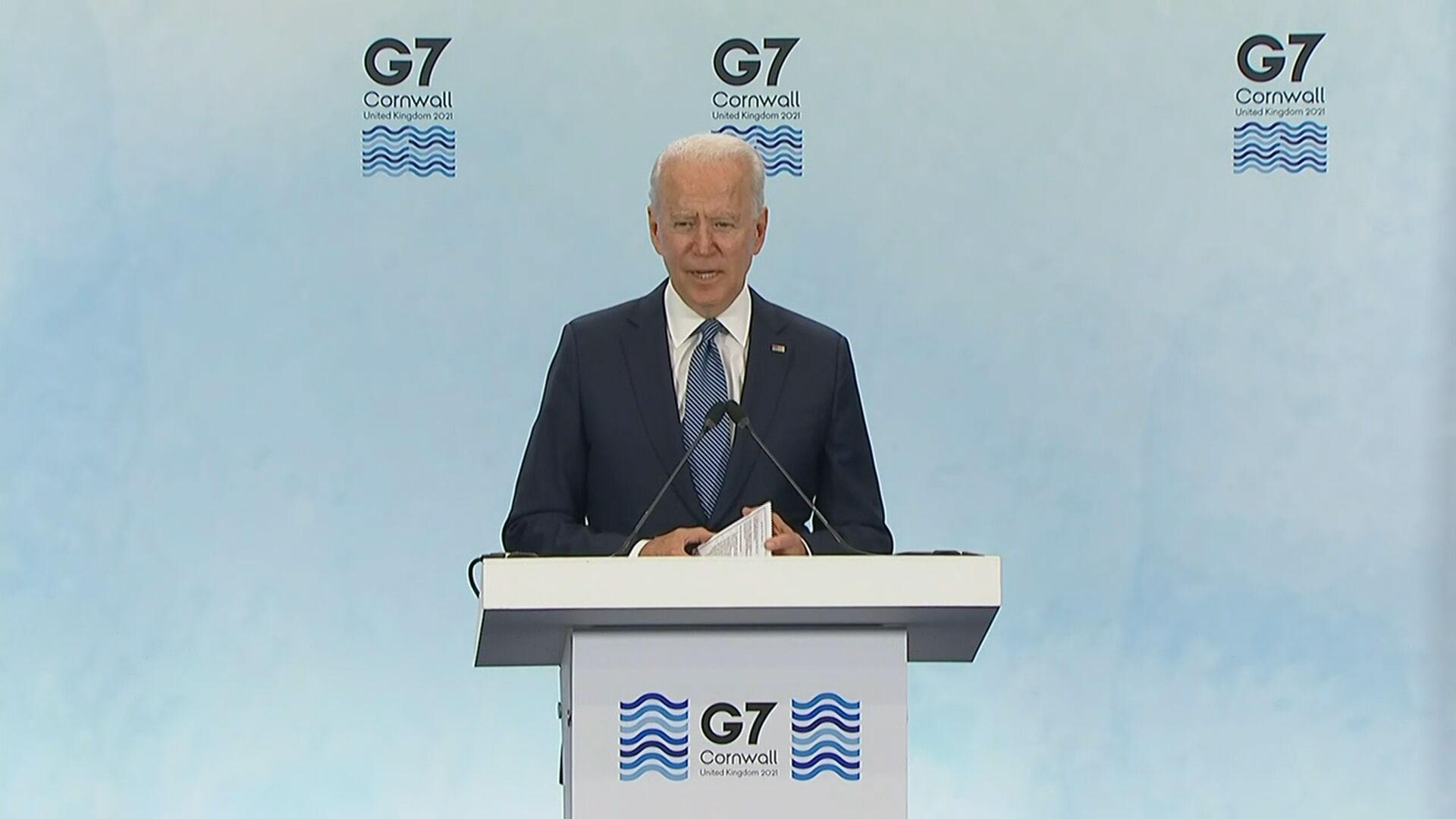 Joe Biden discursa na cúpula do G-7 (13.Jun.2021)