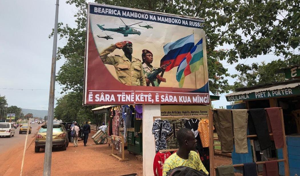 Outdoor com propaganda russa em Bangui, na República Centro-Africana
