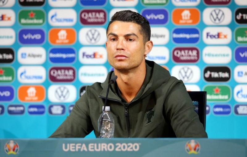 Cristiano Ronaldo durante entrevista da Euro 2020 na Puskas Arena, Budapeste