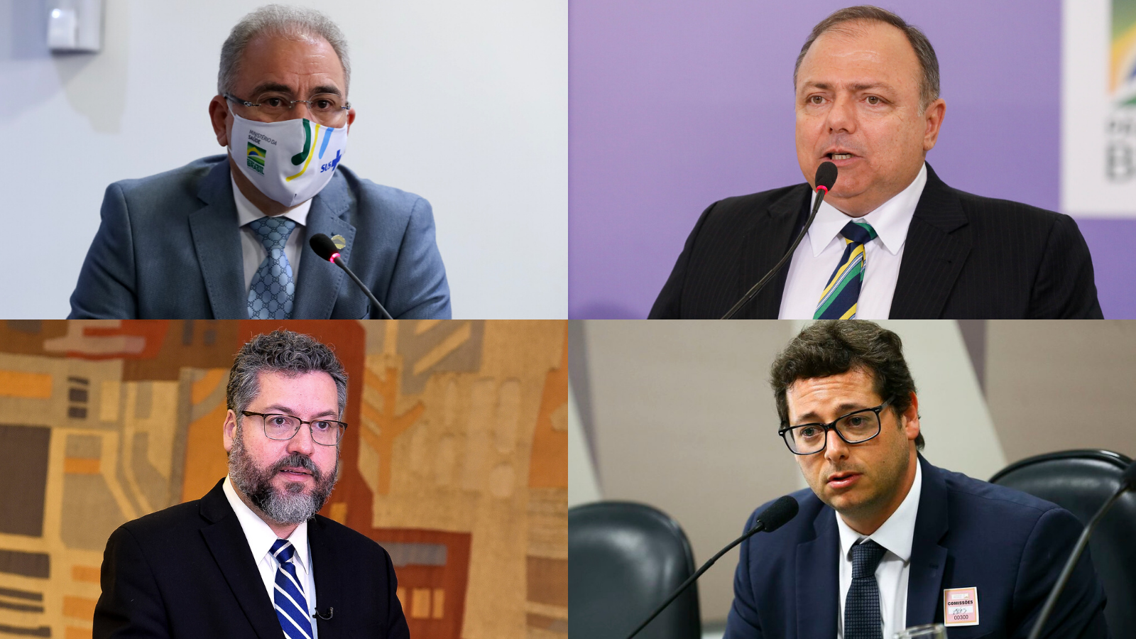 Marcelo Queiroga, Eduardo Pazuello, Ernesto Araújo e Fabio Wajngarten