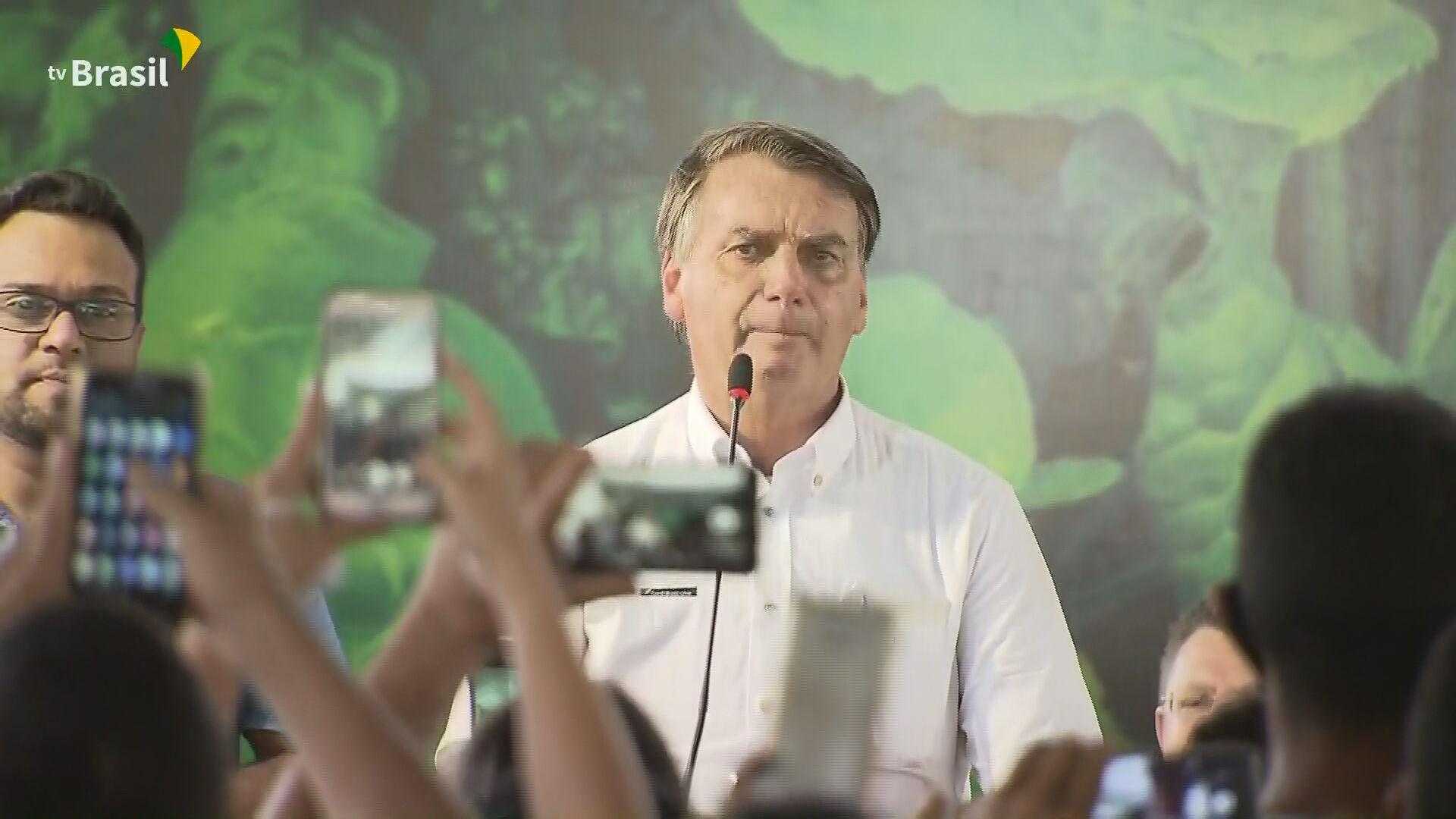 O presidente Jair Bolsonaro (sem partido) durante evento em Marabá, no Pará