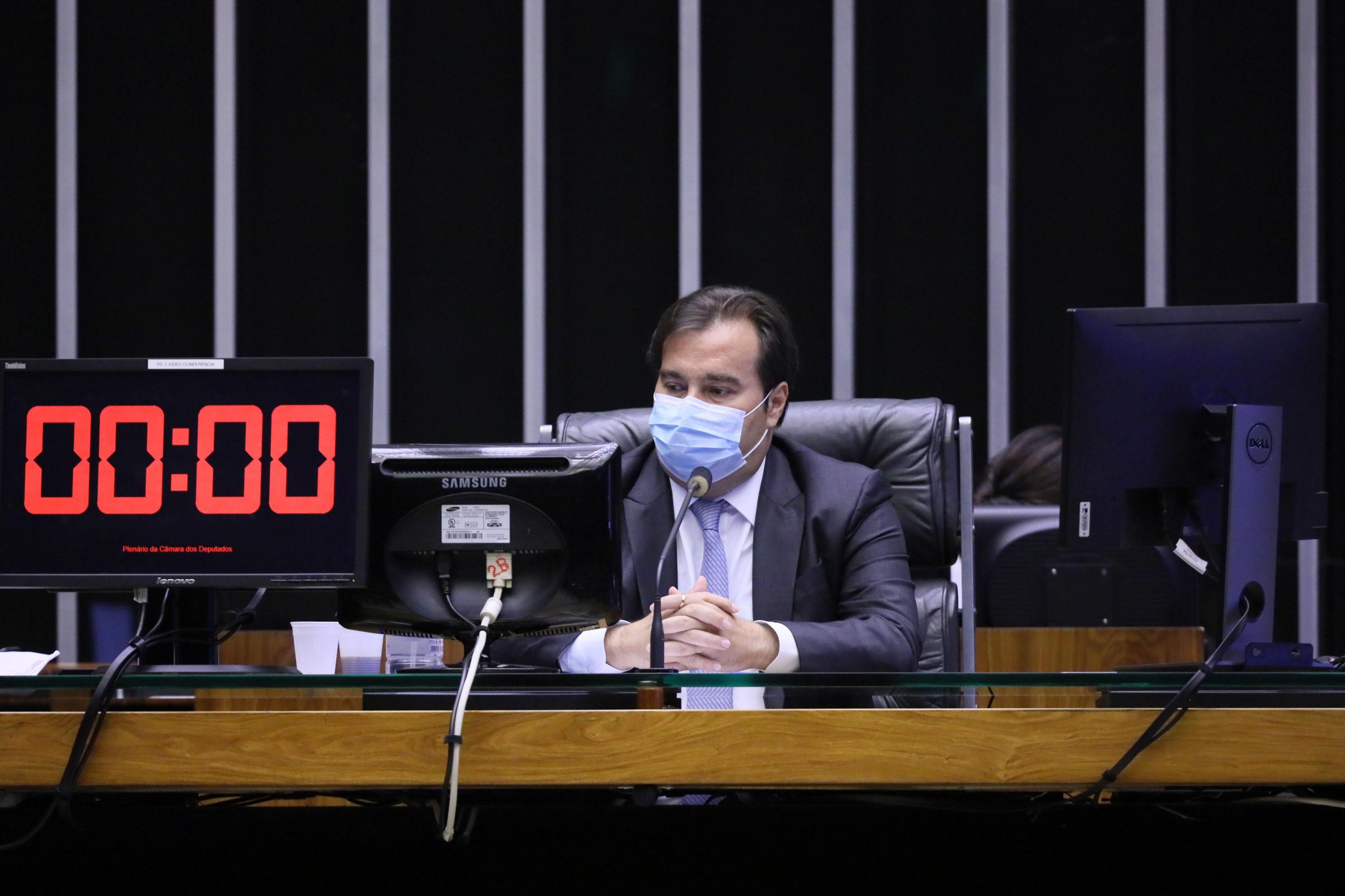 O presidente da Câmara dos Deputados, Rodrigo Maia, durante sessão legislativa