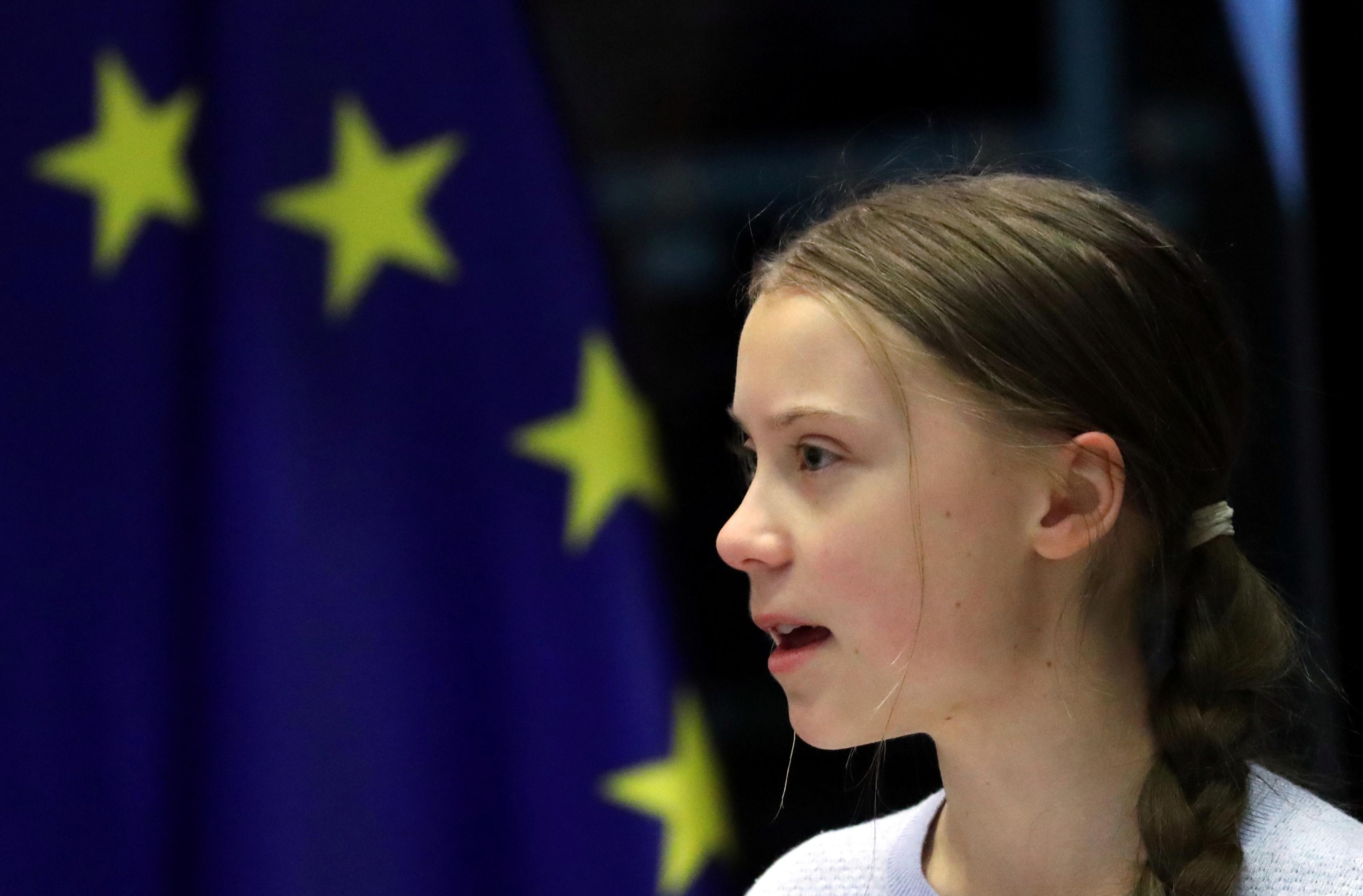 Greta Thunberg discursa no Parlamento Europeu, em Bruxelas, na Bélgica