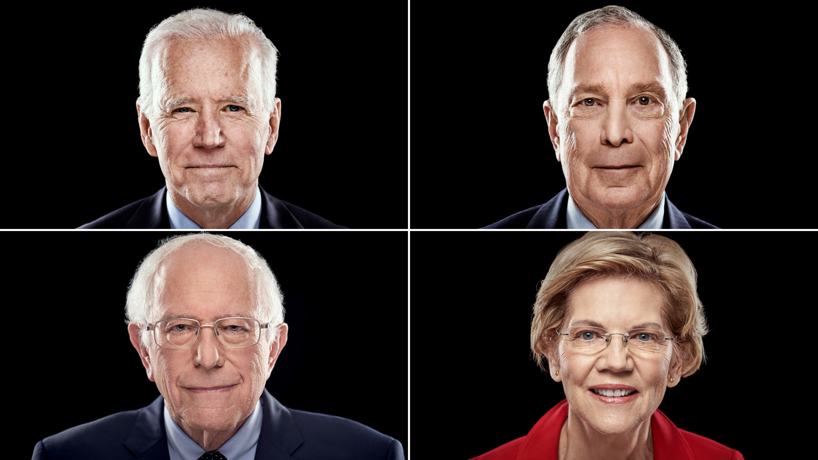 Joe Biden, Mike Bloomberg, Bernie Sanders e Elizabeth Warren