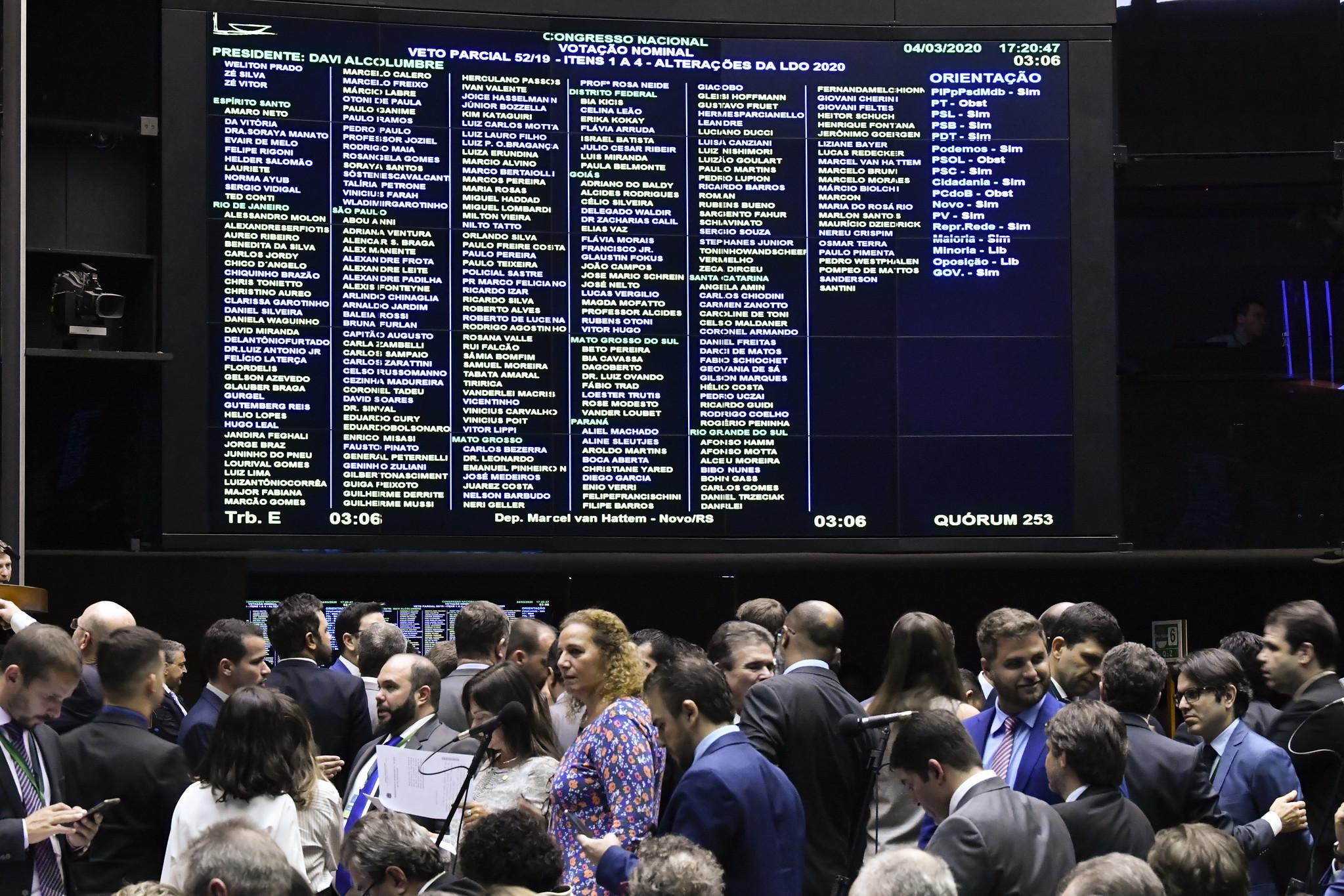 Plenário da Câmara durante sessão conjunta do Congresso sobre vetos