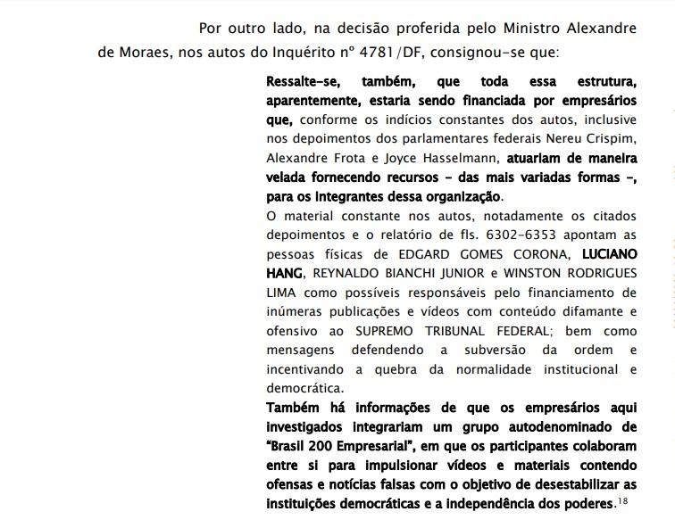 Trecho do documento que destaca a participação de empresários e apoiadores de Bo
