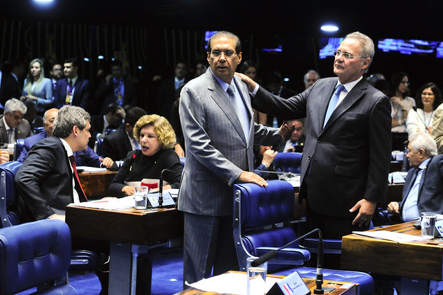 Os senadores Jader Barbalho (MDB-PA) e Renan Calheiros (MDB-AL)