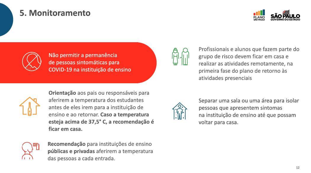 Recomendações de monitoramento durante retomada escolar em São Paulo.