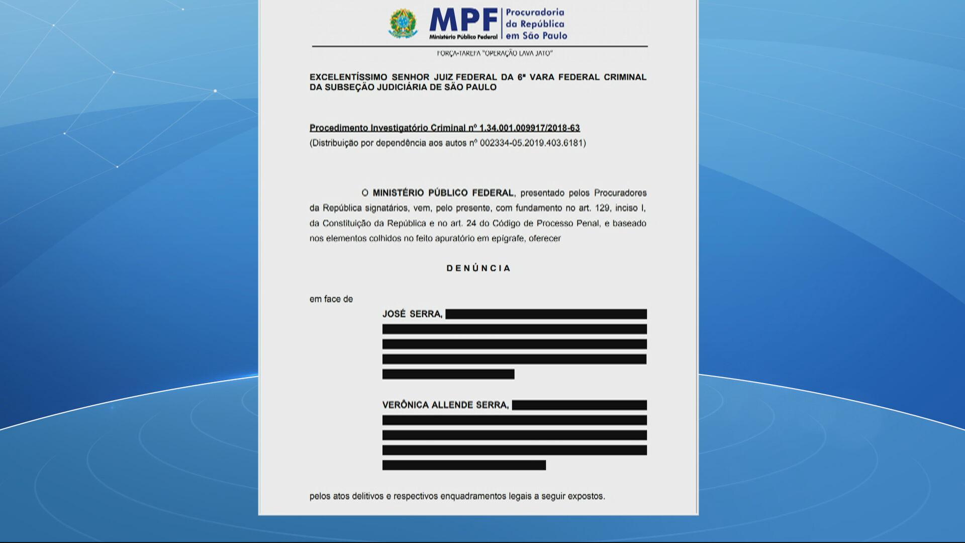 Denúncia do Ministério Público contra José Serra e a filha Verônica Allende Serr