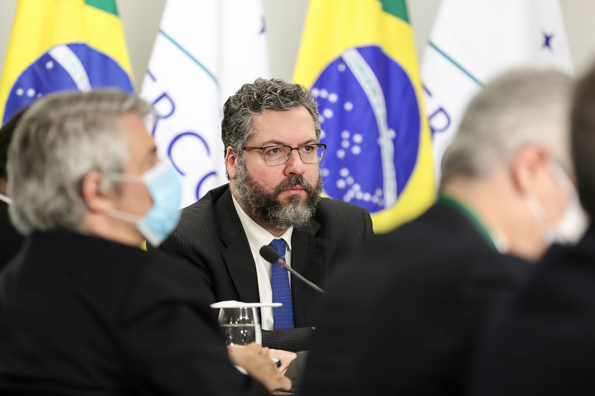 O ministro das Relações Exteriores, Ernesto Araújo, durante cúpula do Mercosul